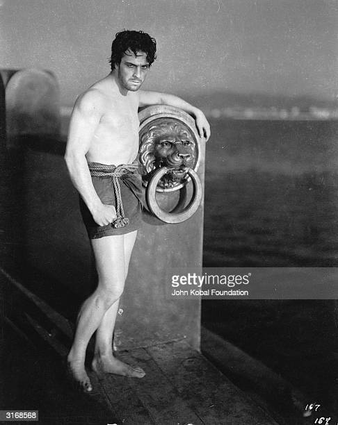 Dressed only in a loincloth Mexican heartthrob Ramon Novarro plays the beleaguered hero of the Roman epic 'BenHur' directed by Fred Niblo