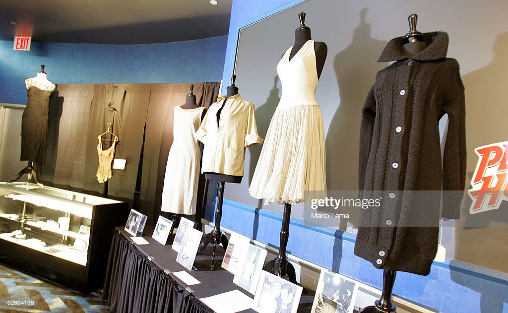 Dresses and artifacts from the estate of actress Marilyn Monroe are seen during a press preview in Planet Hollywood May 16, 2005 in New York City. Over 200 personal and professional items will be offered in the June 4th sale.