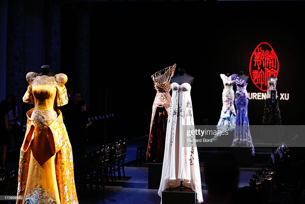 Dresses are displayed before the Laurence Xu show as part of Paris Fashion Week Haute-Couture Fall/Winter 2013-2014 at Pavillon Cambon on July 4, 2013 in Paris, France.