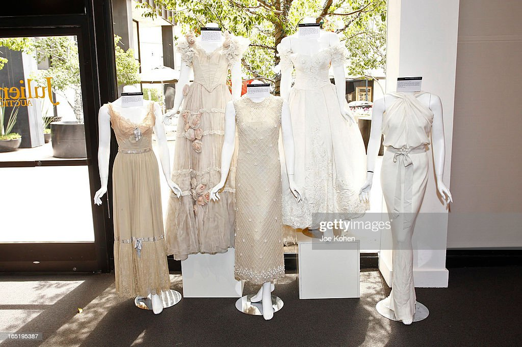 Dresses are seen on display at Julien's Auctions Gallery on April 1, 2013 in Beverly Hills, California.