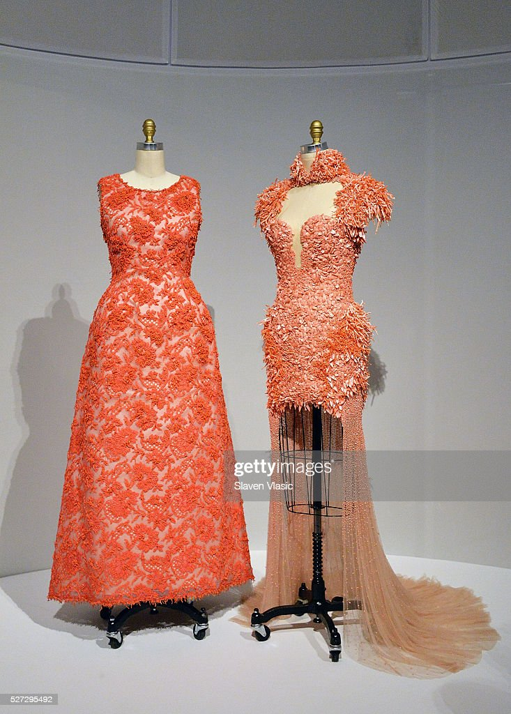 Dresses on display at the Costume Institute's 'Manus x Machina' exhibition press presentation at the Metropolitan Museum of Art at Metropolitan Museum of Art on May 2, 2016 in New York City.