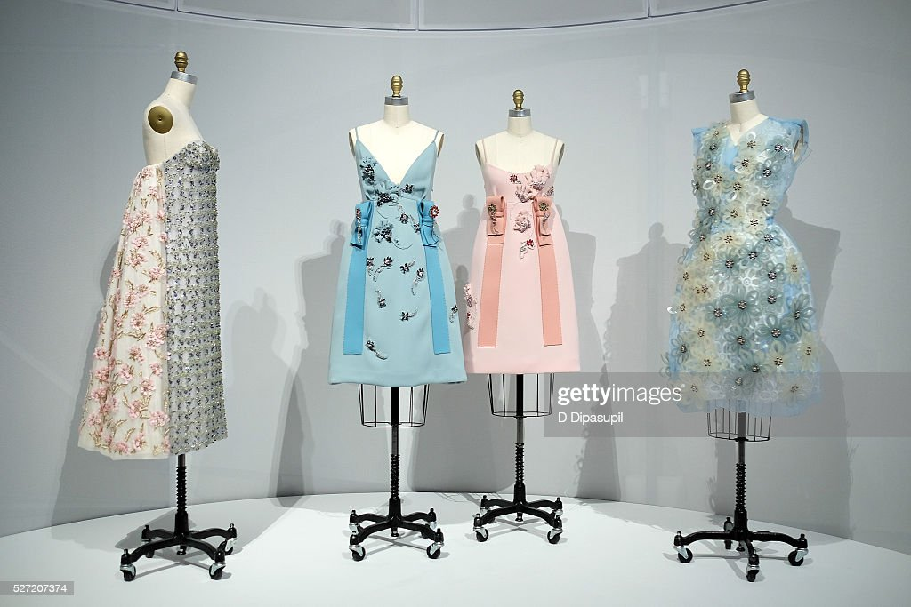 Dresses on display at the 'Manus x Machina: Fashion in an Age of Technology' press preview at the Metropolitan Museum of Art on May 2, 2016 in New York City.