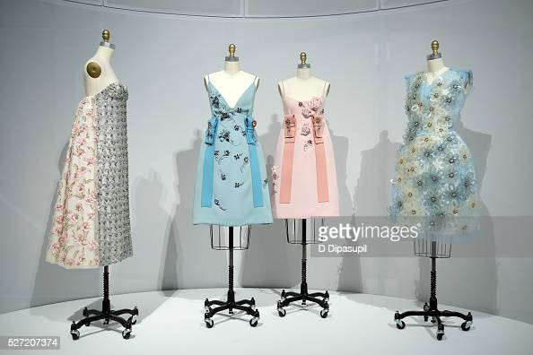 Dresses on display at the 'Manus x Machina Fashion in an Age of Technology' press preview at the Metropolitan Museum of Art on May 2 2016 in New York...