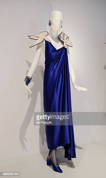 Dresses on display at the opening night of the Yves Saint Laurent Style is Eternal exhibition at Bowes Museum on July 9 2015 in Barnard Castle United...