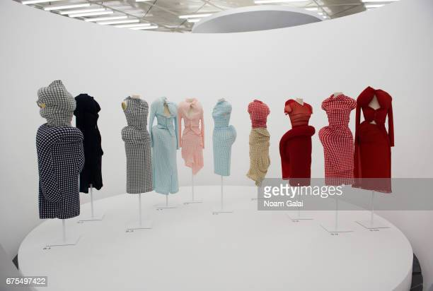 Dresses on display at the 'Rei Kawakubo/Comme des Garcons Art Of The InBetween' Costume Institute Gala press preview at Metropolitan Museum of Art on...
