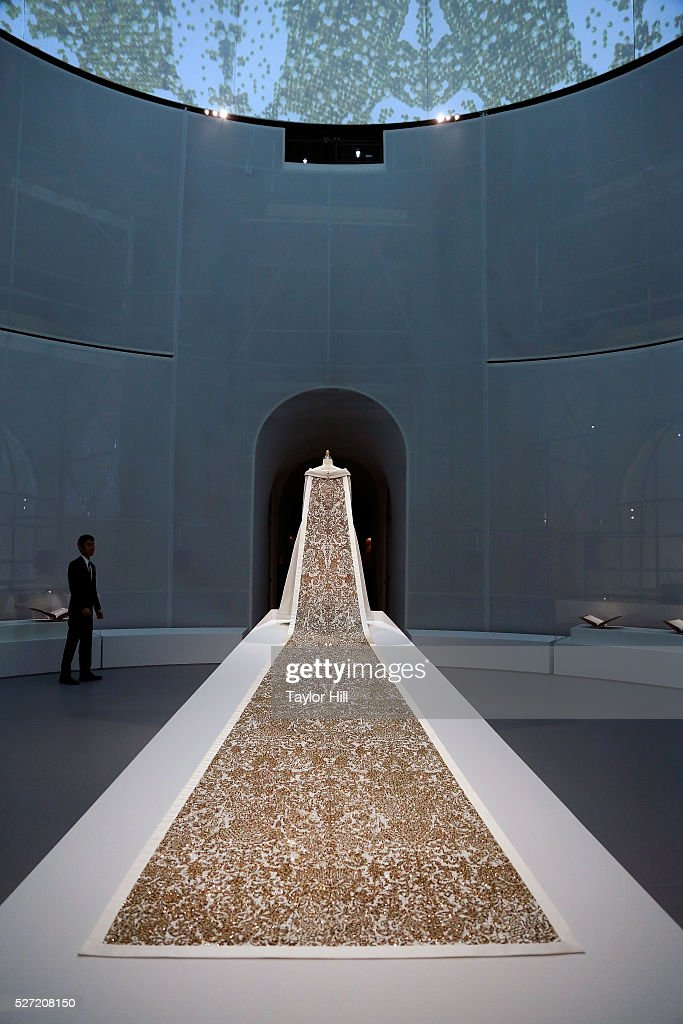 Dresses on display for the 'Manus x Machina: Fashion in an Age of Technology' exhibition at the Metropolitan Museum of Art on May 02, 2016 in New York City.
