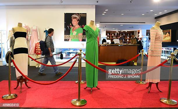 Dresses worn by the late Princess Diana are displayed at Julien's Auction House in Beverly HIlls California on December 1 ahead of the December 5th...