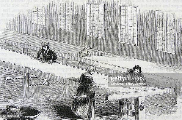 Dressing bobbin net lace Messrs Manlove and Alliott Nottingham England Dipped in a solution of gum paste and water then wrung out it was stretched on...
