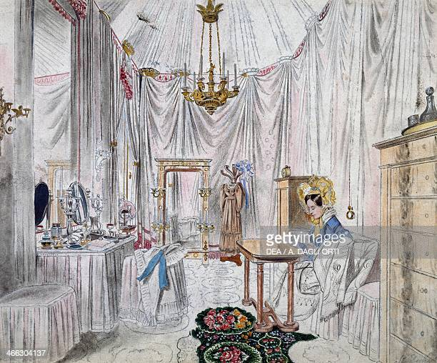 Dressing room of Empress Carolina Augusta in the castle of Vienna watercolour on paper by Johann Stephan Decker