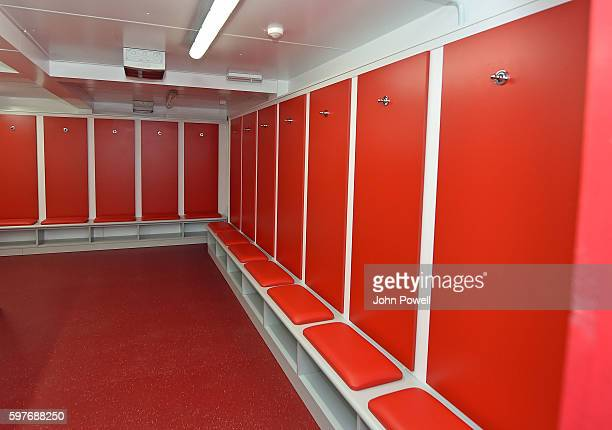 Dressing room of Liverpool at the main stand test event at Anfield on August 29 2016 in Liverpool England