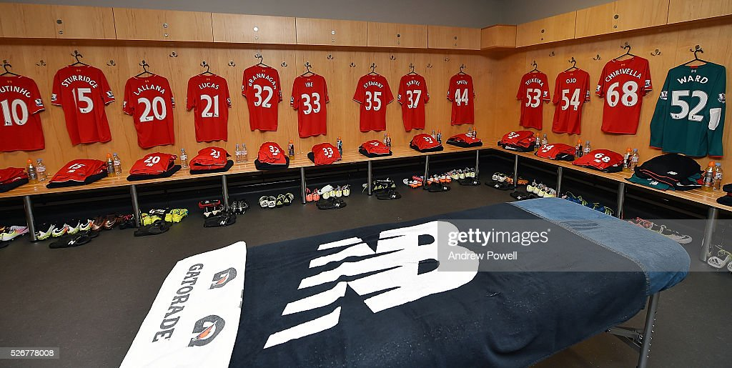 Dressing room of Liverpool before a Premier League match between Swansea City and Liverpool at the Liberty Stadium on May 01, 2016 in Swansea, Wales.