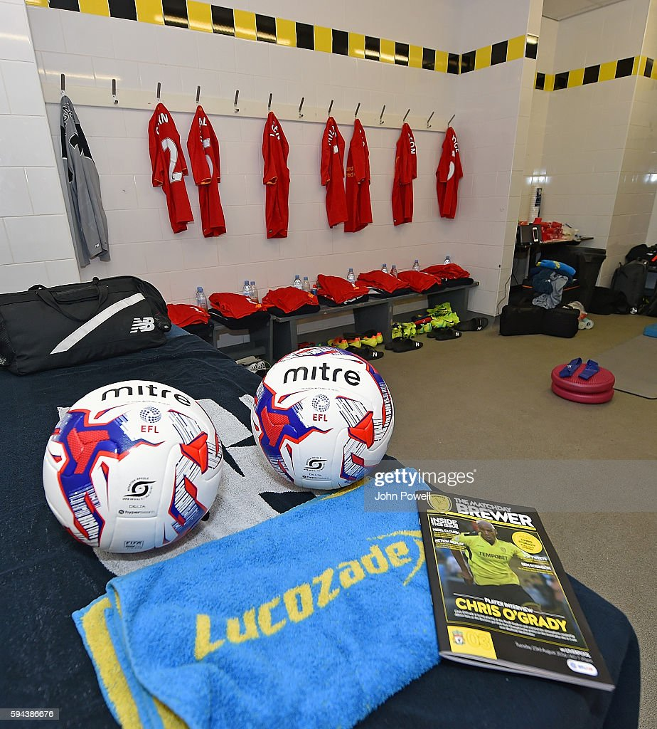 Dressing room of Liverpool before the EFL Cup match between Burton Albion and Liverpool at the Pirelli Stadium on August 23 2016 in Burton upon Trent...