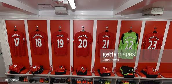 Dressing Room of Liverpool before the Premier League match between Liverpool and Manchester United at Anfield on October 17 2016 in Liverpool England
