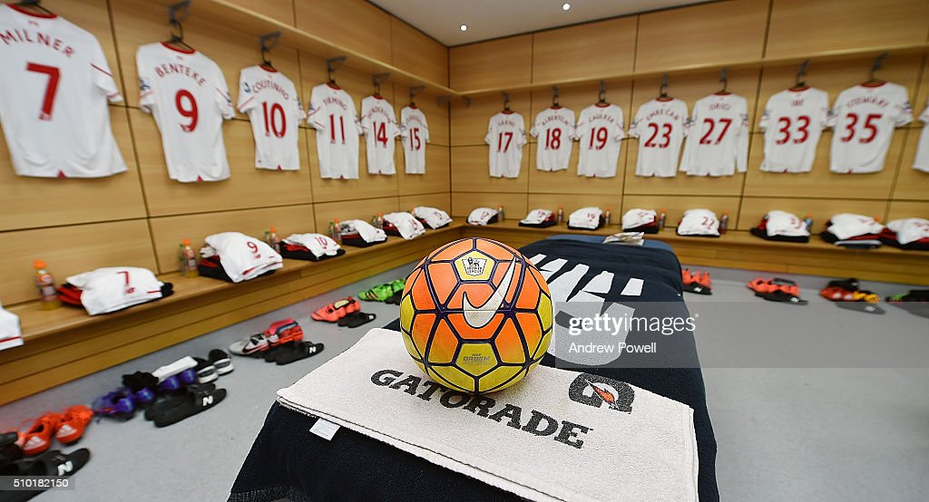 Dressing room of Liverpool during the Barclays Premier League match between Aston Villa and Liverpool at Villa Park on February 14, 2016 in Birmingham, England.