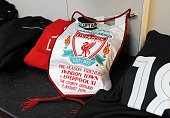 Dressing room of Liverpool FC before a preseason friendly at County Ground on August 2 2015 in Swindon England