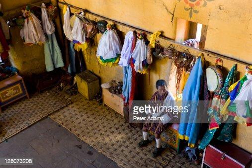 Dressing room, Thangbi Festival, Jakar, Bumthang Valley, Bhutan
