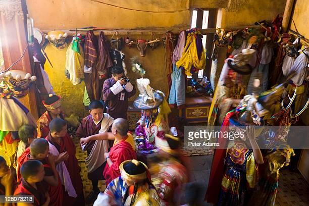 Dressing room, Thangbi Mane Festival, Tangbi Goemba, near Jakar, Bumthang, Bhutan