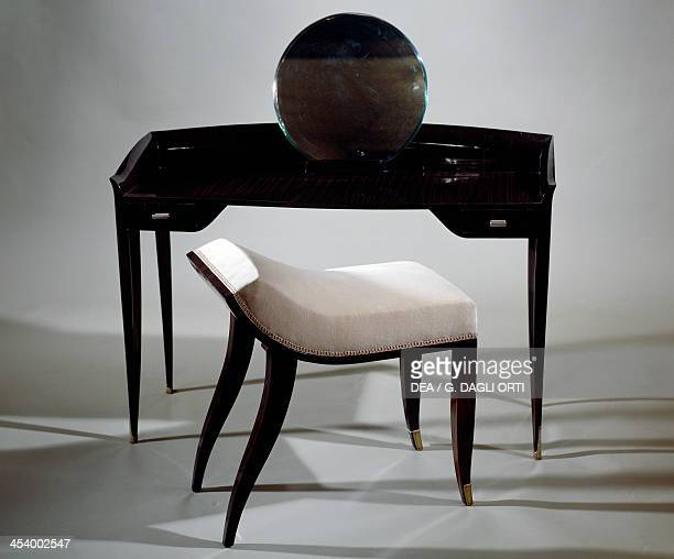 Dressing table and stool ca 1925 by JacquesEmile Ruhlmann Macassar ebony France 20th century