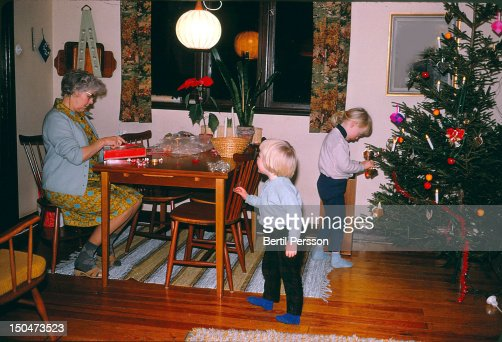 Dressing  tree for christmas : Stock Photo