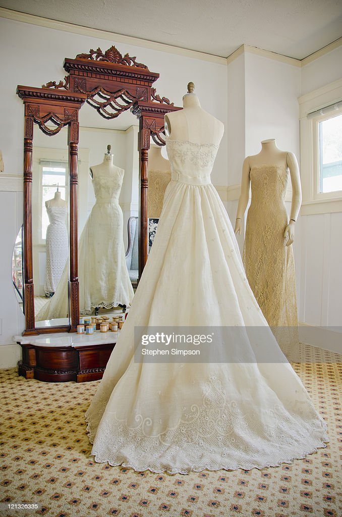 dressmaker's shop with wedding dress : Stock Photo