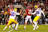 Drew Alleman of the LSU Tigers celebrates after kicking the gamewinning field goal in overtime to defeat the Alabama Crimson Tide 96 at BryantDenny...