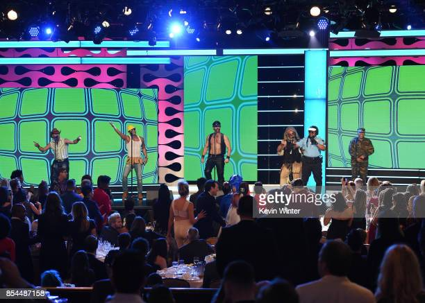 Drew Baldwin with Chad Freeman James Kwong JJ Lippold Victor Willis Angel Morales and Sonny Earl of Village People at the 2017 Streamy Awards at The...