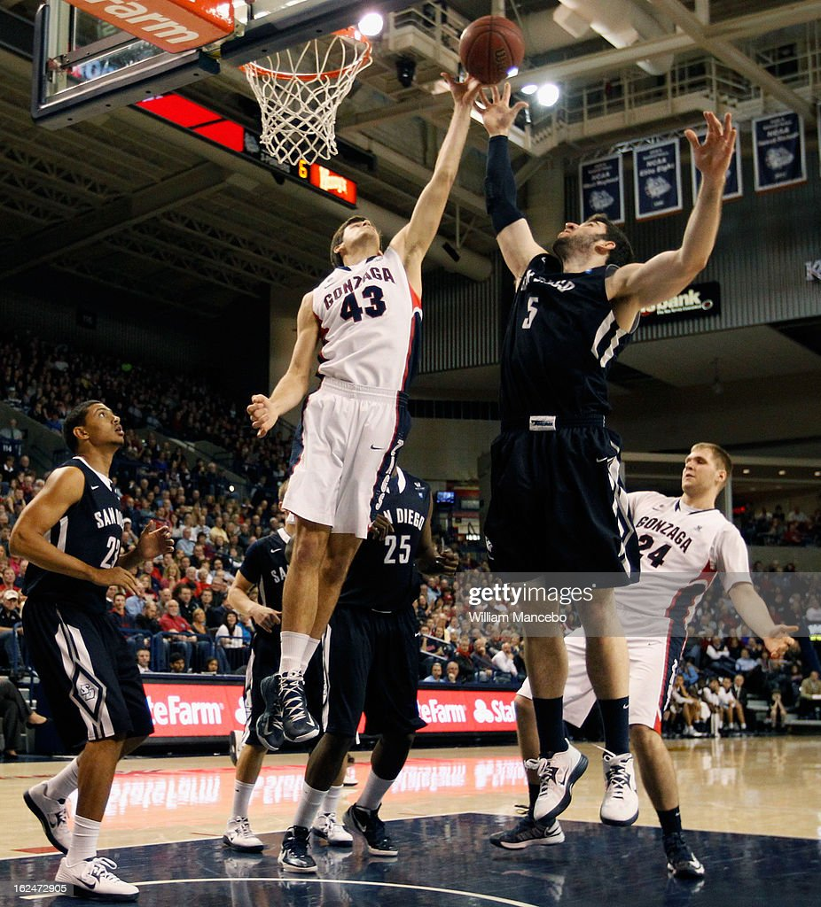 Drew Barham #43 of the Gonzaga Bulldogs reaches for an offensive rebound during the second half of the game against the San Diego Toreros at McCarthey Athletic Center on February 23, 2013 in Spokane, Washington.