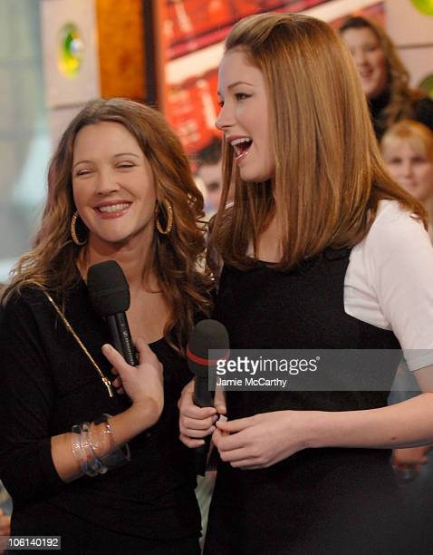 Drew Barrymore and Haley Bennett during Drew Barrymore and Haley Bennett Visit MTV's 'TRL' February 14 2007 at MTV Studios in New York City New York...
