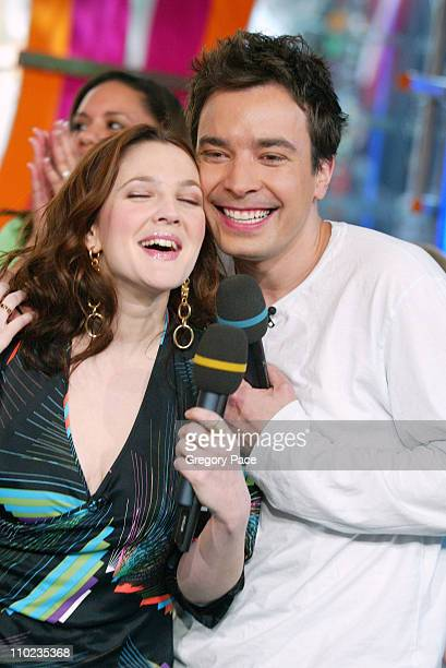 Drew Barrymore and Jimmy Fallon during Drew Barrymore and Jimmy Fallon Visit MTV's 'TRL' April 5 2005 at MTV Studios Times Square in New York City...