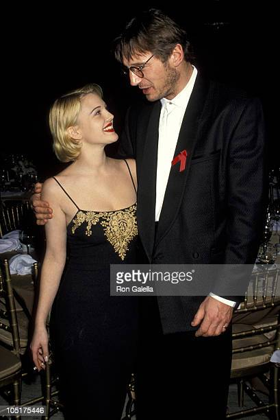 Drew Barrymore and Liam Neeso n during CFDA Honors Pauline Trigere's 50 Years of Fashion at New York State Theater Lincoln Center in New York City...