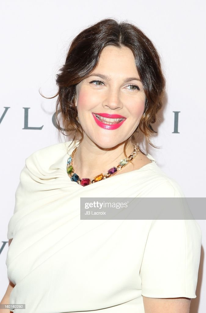 <a gi-track='captionPersonalityLinkClicked' href=/galleries/search?phrase=Drew+Barrymore&family=editorial&specificpeople=201623 ng-click='$event.stopPropagation()'>Drew Barrymore</a> attends the BVLGARI celebration of Elizabeth Taylor's collection of BVLGARI jewelry at Bvlgari Beverly Hills on February 19, 2013 in Beverly Hills, California.