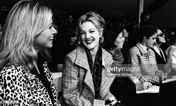 Drew Barrymore in audience at Miu Miu fashion show on October 31 1995 in New York City New York