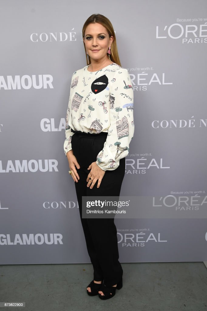 Drew Barrymore poses backstage at Glamour's 2017 Women of The Year Awards at Kings Theatre on November 13, 2017 in Brooklyn, New York.