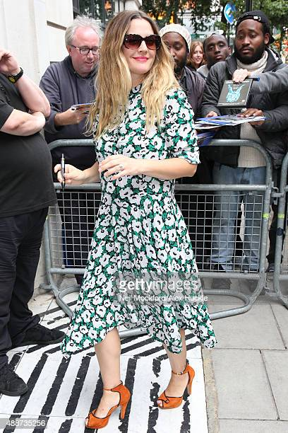 Drew Barrymore seen at BBC Radio 2 on September 17 2015 in London England