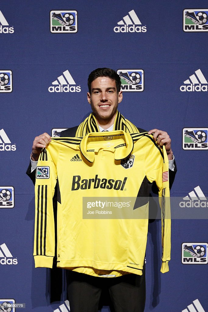 Drew Beckie of the University of Denver poses for photos after being selected by the Columbus Crew as the 28th overall pick in the 2013 MLS SuperDraft Presented by Adidas at the Indiana Convention Center on January 17, 2013 in Indianapolis, Indiana.