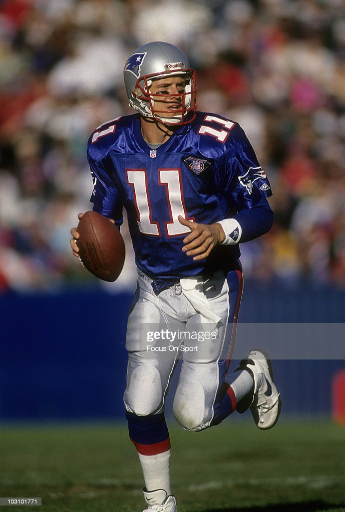 <a gi-track='captionPersonalityLinkClicked' href=/galleries/search?phrase=Drew+Bledsoe&family=editorial&specificpeople=183356 ng-click='$event.stopPropagation()'>Drew Bledsoe</a> #11 of the New England Patriots looking for a receiver down field to pass to against the San Diego Chargers November 20, 1994 during an NFL football game at Foxboro Stadium in Foxboro, Massachusetts. Bledsoe played for the Patriots from 1993-01