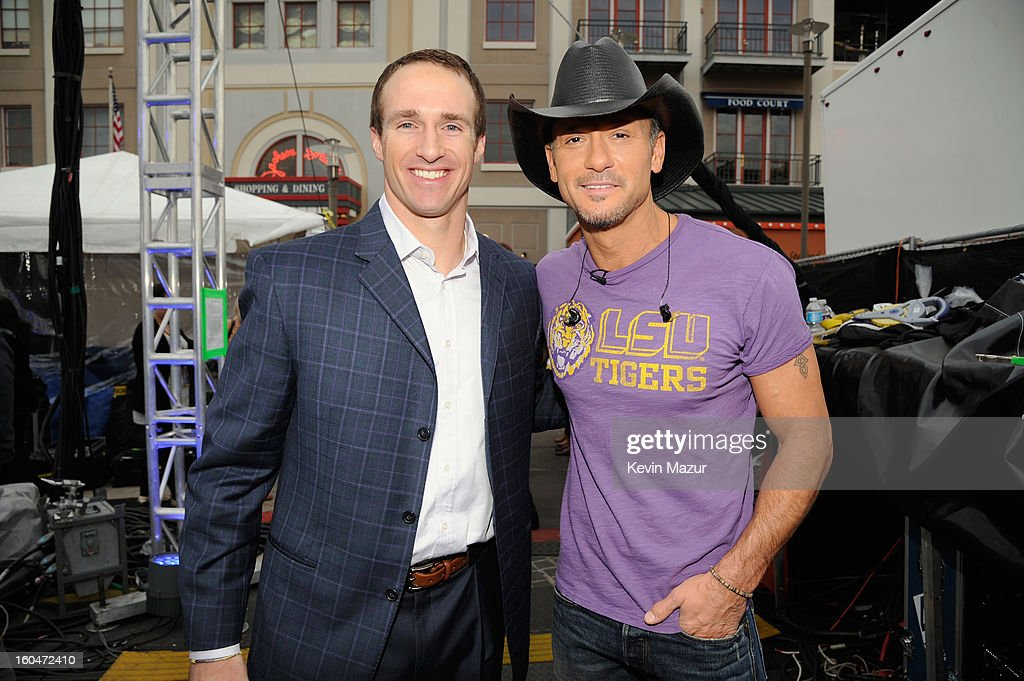 Drew Brees and Tim McGraw attend ABC's 'Good Morning America' at the House of Blues on February 1, 2013 in New Orleans, Louisiana.