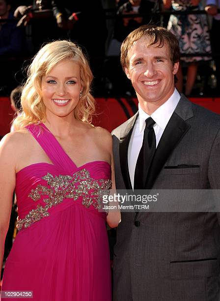 Drew Brees and wife Brittany Brees arrive at the 2010 ESPY Awards at Nokia Theatre LA Live on July 14 2010 in Los Angeles California