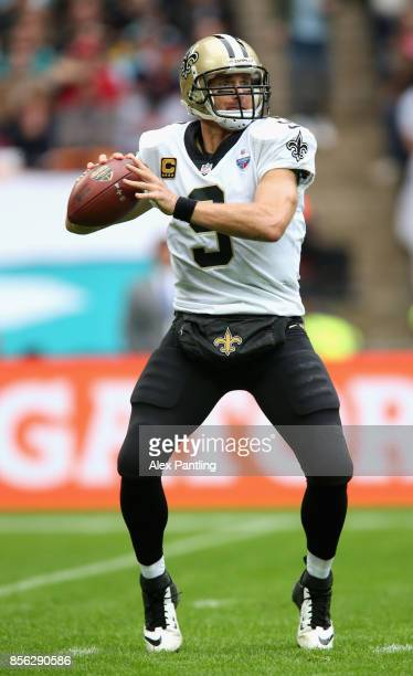 Drew Brees of New Orleans Saints in action during the NFL International Series match between New Orleans Saints and Miami Dolphins at Wembley Stadium...