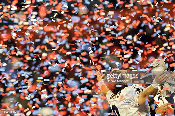 Drew Brees of the New Orleans Saints celebrates after defeating the Indianapolis Colts during Super Bowl XLIV on February 7 2010 at Sun Life Stadium...