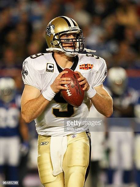 Drew Brees of the New Orleans Saints drops back to pass against the Indianapolis Colts during Super Bowl XLIV on February 7 2010 at Sun Life Stadium...