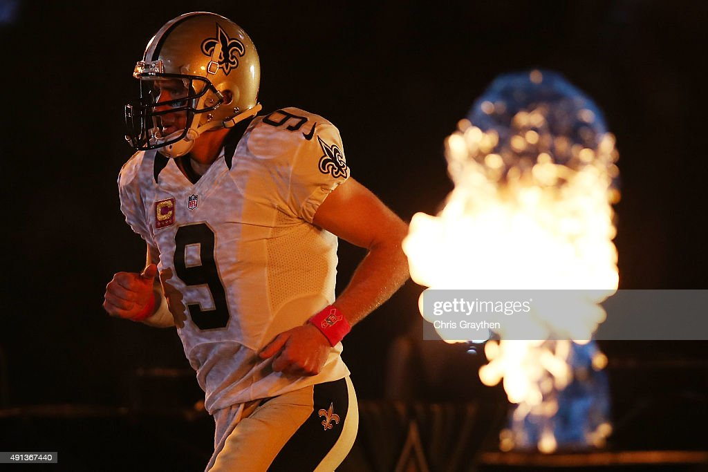 Drew Brees #9 of the New Orleans Saints is introduced prior to playing the Dallas Cowboys at Mercedes-Benz Superdome on October 4, 2015 in New Orleans, Louisiana.