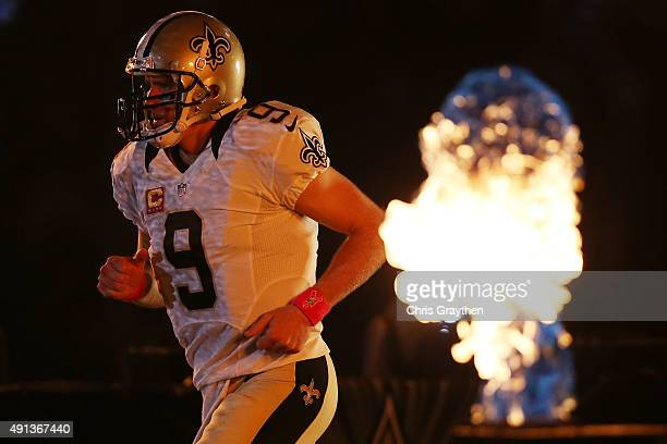 Drew Brees of the New Orleans Saints is introduced prior to playing the Dallas Cowboys at MercedesBenz Superdome on October 4 2015 in New Orleans...