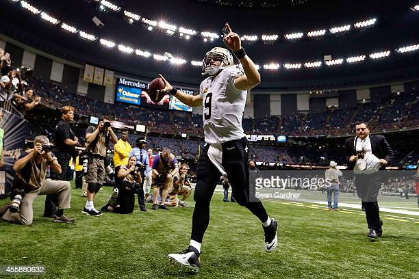 Drew Brees of the New Orleans Saints leaves the field following a game against the Minnesota Vikings at the MercedesBenz Superdome on September 21...