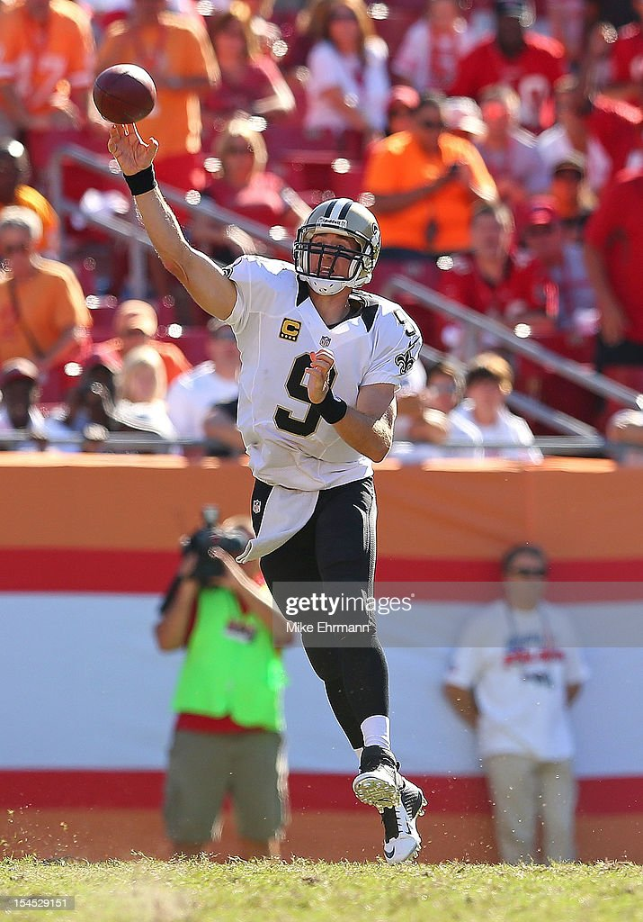 <a gi-track='captionPersonalityLinkClicked' href=/galleries/search?phrase=Drew+Brees&family=editorial&specificpeople=202562 ng-click='$event.stopPropagation()'>Drew Brees</a> #9 of the New Orleans Saints passes during a game against the Tampa Bay Buccaneers at Raymond James Stadium on October 21, 2012 in Tampa, Florida.