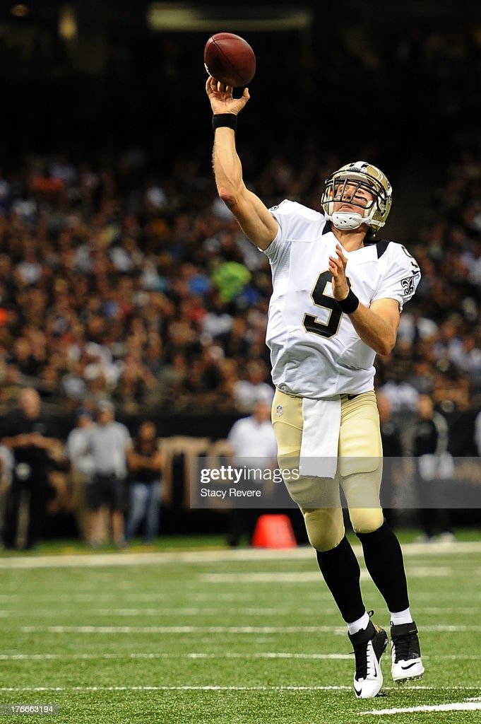 <a gi-track='captionPersonalityLinkClicked' href=/galleries/search?phrase=Drew+Brees&family=editorial&specificpeople=202562 ng-click='$event.stopPropagation()'>Drew Brees</a> #9 of the New Orleans Saints throws a pass against the Oakland Raiders during a preseason game at the Mercedes-Benz Superdome on August 16, 2013 in New Orleans, Louisiana.