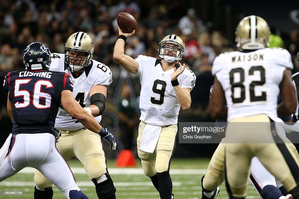 Drew Brees of the New Orleans Saints throws a pass against the Houston Texans at the MercedesBenz Superdome on August 30 2015 in New Orleans Louisiana