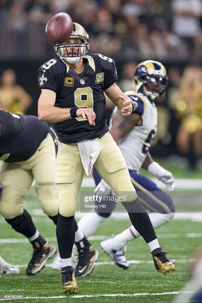 Drew Brees #9 of the New Orleans Saints throws a pass during a game against the Los Angeles Rams at Mercedes-Benz Superdome on November 27, 2016 in New Orleans, Louisiana. The Saints defeated the Rams 49-21.