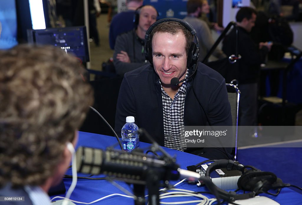 <a gi-track='captionPersonalityLinkClicked' href=/galleries/search?phrase=Drew+Brees&family=editorial&specificpeople=202562 ng-click='$event.stopPropagation()'>Drew Brees</a> of the New Orleans Saints visits the SiriusXM set at Super Bowl 50 Radio Row at the Moscone Center on February 5, 2016 in San Francisco, California.