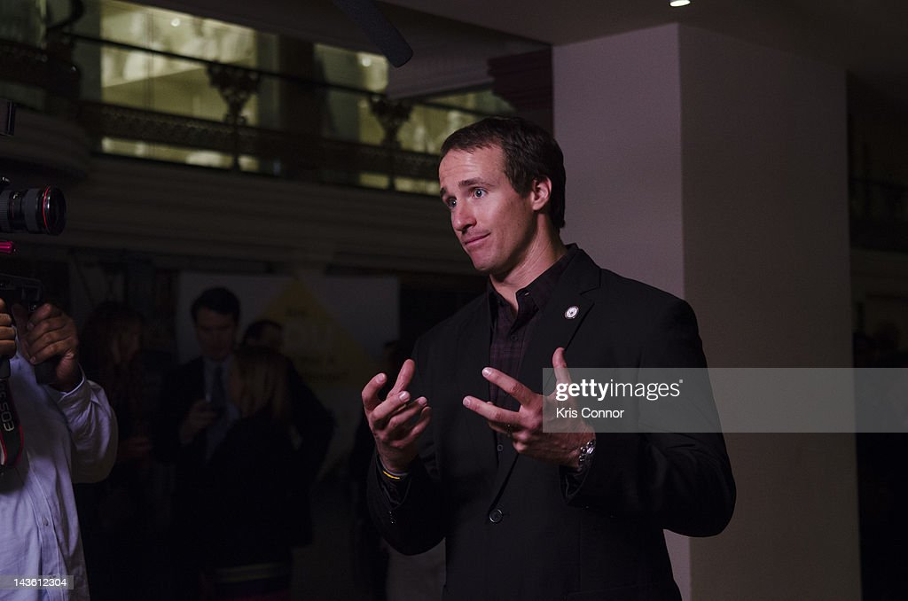 <a gi-track='captionPersonalityLinkClicked' href=/galleries/search?phrase=Drew+Brees&family=editorial&specificpeople=202562 ng-click='$event.stopPropagation()'>Drew Brees</a> speaks during an interview during the Active Play Video Game Demonstration at Smithsonian American Art Museum & National Portrait Gallery on April 30, 2012 in Washington, DC.